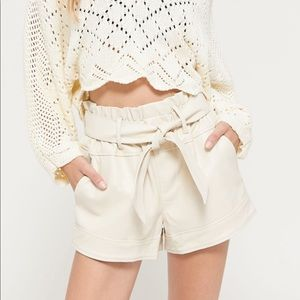 UO Bea Belted Faux Leather Shorts